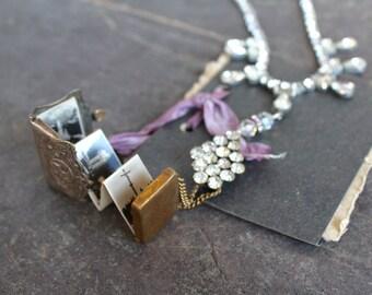 Our Lady of Lourdes Purse Locket necklace assemblage antique rhinestone Souvenir Photos statement jewelry devotional, religious spiritual