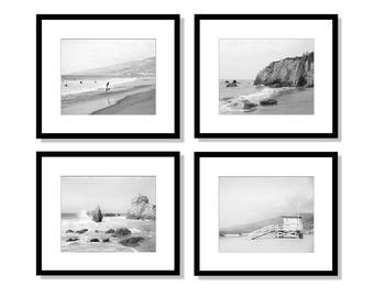 Black and White, California Beach Prints, Malibu Beach, Wall Art, Los Angeles Photography, Lifeguard Tower, Ocean, Set of 4 Prints