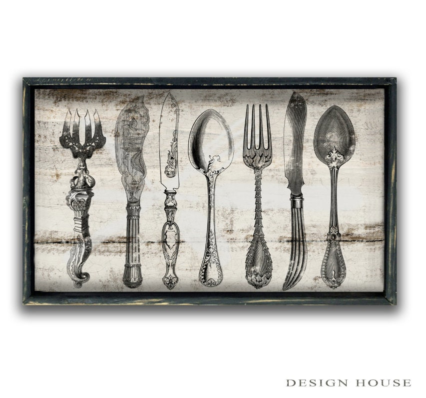 Signs For The Kitchen: Wooden Silverware Sign Kitchen Signs Kitchen Wall Decor