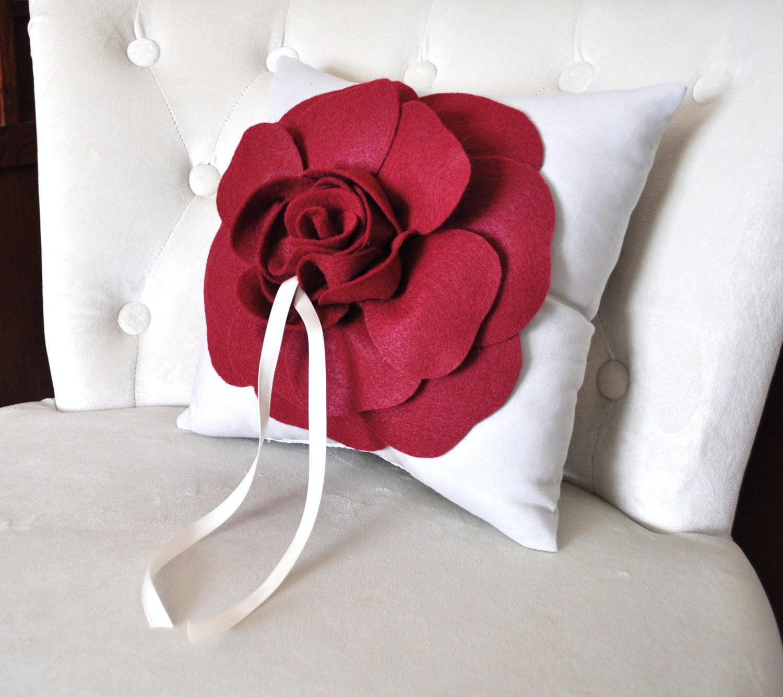 Wedding Pillow Ruby Red On Cream Ring Bearer Pillow Wedding