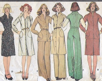 """A Buttoned Dress/Jacket/Top w/Sleeve Variations, A-Line Skirt & Straight Leg Pants Pattern for Women: Size 10, Bust 32-1/2"""" • McCall's 5217"""