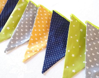 Fabric bunting Garland Bunting 12 flags Fabric banner Baby gift Nursery decor