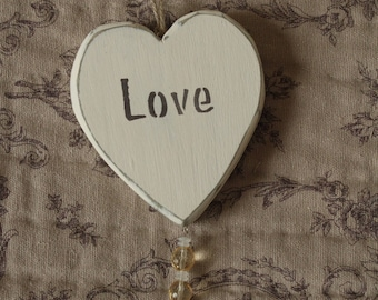 Shabby chic wooden hanging heart