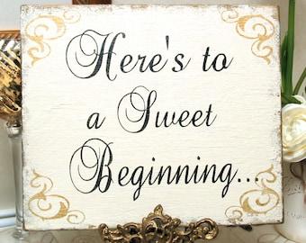SWEET BEGINNING sign Shabby wedding bridal, candy bar sign, cookie bar sign, candy buffet sign, sweet treat sign
