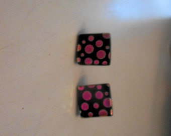 dichoric glass tile post earrings with clutch backs