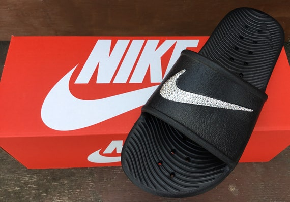 Black Nike Kawa Slide slip on Beach Flip Flops Custom Crystal w/ Swarovski Rhinestone Jewels Wedding Vacation Reception Party Bling Shoes