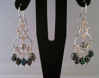 Dangle chandelier silver pearl earrings