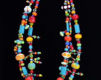 Whimsey - colorful two strand glass beaded necklace
