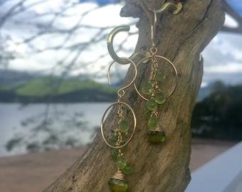 Gold Peridot Cluster Hoop Earrings