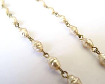 Vintage costume earrings, imitation pearls