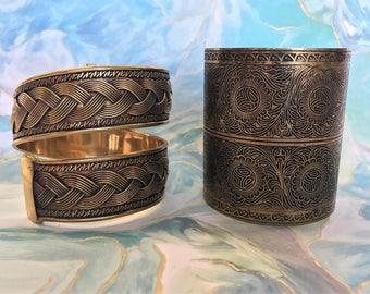 Set of 2 Decorative Brass Bracelets Artisan Made in India