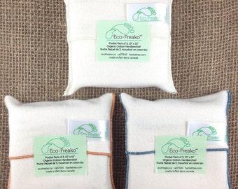 Pocket Pack of 3 Hankettes Organic Cotton Handkerchiefs