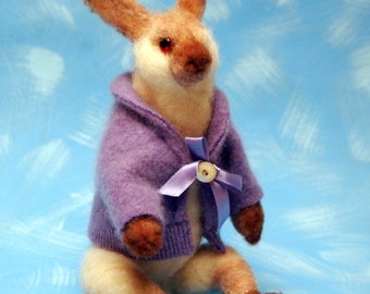 wool needle felted rabbit with cashmere sweater