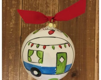 Hand Painted Camper Ornament