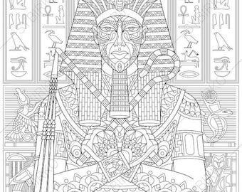 Egyptian Pharaoh Tutankhamun. 2 Coloring Pages. Coloring book pages for Kids and Adults. Instant Download Print
