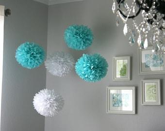 Aqua & White tissue poms