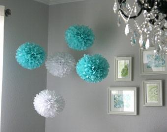 Aqua & White Tissue Paper Poms .. Wedding Reception Decor .. Party Decoration .. DIY - set of 10