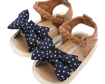 Baby First Bow Sandals Summer Soft Sole Baby Girls First Walkers Shoes Fashion