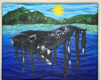 Original North Atlantic Right Whale Acrylic Painting - From the Endangered Species Series