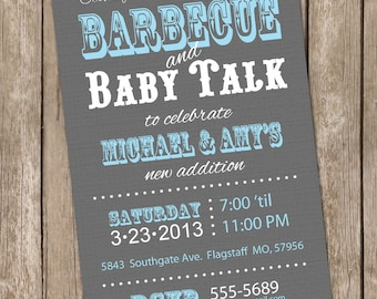 Barbecue baby shower invitation, bbq baby shower invitation, grey, blue, typography, printable invitation