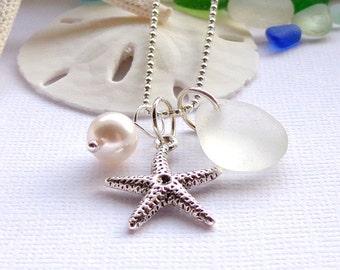 White Sea Glass  Wedding Necklace Garden Leaf Seaside