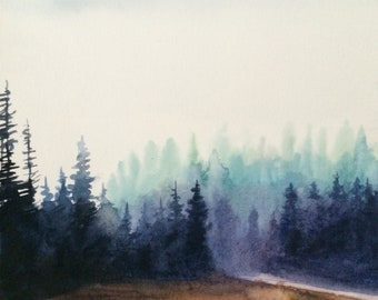 Forest painting, forest watercolor, Misty trees, pine tree painting, pine forest, watercolor trees, watercolor painting, Misty pine trees
