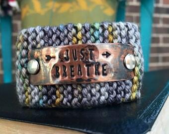 Just Breathe Knit Bracelet, Custom Handstamped Jewelry Cuff, Personalized Stamped Copper Cuff, Wrist Tattoo Cover