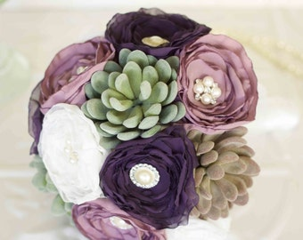 Off White and Purple Fabric Bridal Bouquet with Succulents, Fabric and Brooch Wedding Bouquet