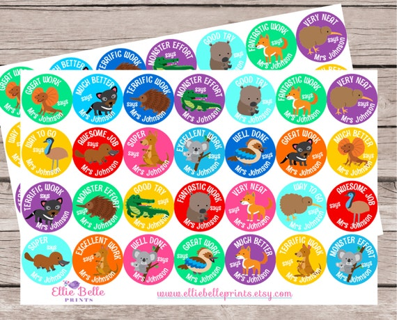 56 australian animals stickers personalised teacher reward
