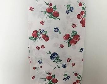 Vintage 1950's Cotton- Linen Blend Kitchen Tablecloth