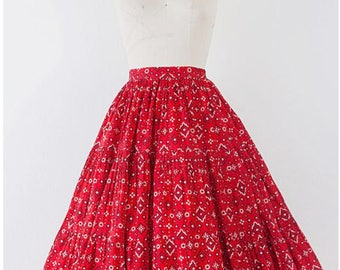 1950's Handkerchief Tiered Circle Skirt l M