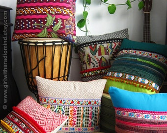 3 Decorative Pillows - Set of Three - Your Choice of Design / Colorful, Mexican, Boho, Gypsy, Rustic - 16x16 inches