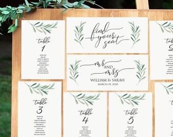 Greenery Seating Chart - Printable Seating Cards - 5x7 Table Card template- Green Olive Leaf - Wedding Table assignment PDF Download-#GD3832