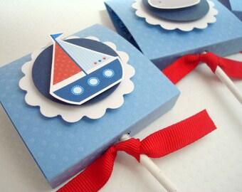 Rouge, bleu et voilier Lollipop Party Favors