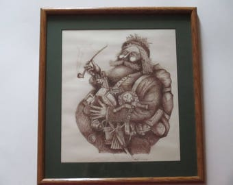 Vintage Illustration of Saint Nick/Santa Claus/ Father Christmas, Graphite on Paper, Pen and Ink Drawing