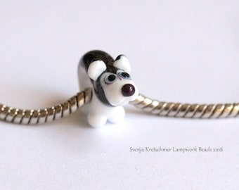 Handmade Lampwork dog big hole glass bead  by Svenja Kretschmer SRA