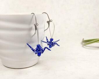 Boucles d'oreilles bleu vif | Grue japonaise | bijou en oiseau | Origami par Ökibo