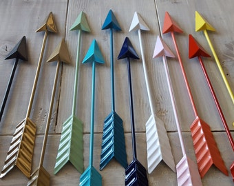 Arrow Decor - Metal Arrow Wall Decor - Dorm Decor, Gallery Wall - Black Arrow Gold Arrow, White Arrow Coral Turquoise Teal Navy Gray Arrow