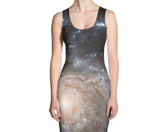 Pinwheel Galaxy Dress - Outer Space print - Real Hubble Image - Sublimation Cut & Sew Dress