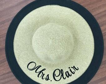 Beach Hat for Her- MRS Floppy Hat - Embroidered Bride Hat - Honeymoon Beach Sun Hat  - Bride Gift