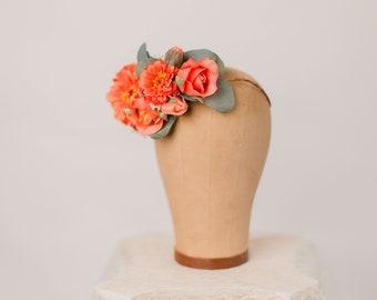 Sunset orange flower crown, boho bride, floral hair adornment