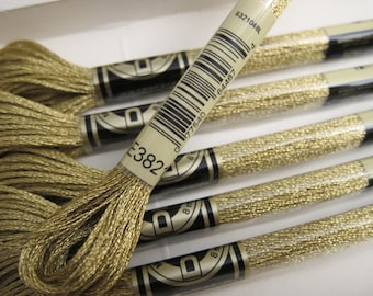 Metallic Light Gold, E3821, DMC Metallic Embroidery Floss - 8m / 8.7 yd. Skeins - Available in Single Skeins, Larger Pkgs & in Full Boxes