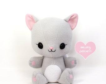 "PDF sewing pattern - Cuddle Kitten stuffed animal - easy cat cute kawaii anime DIY plushie soft toy 15"" TeacupLion"