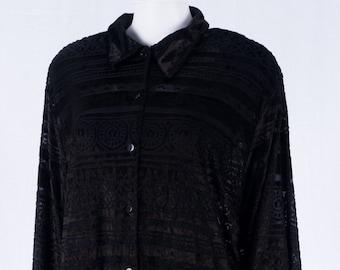 Vintage oversize blouse-blouse M-L-viscose Synthetic fibre mix-black-Ulla Popken-transparent material