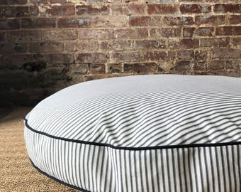 Black Ticking Stripe Dog Bed Cover - Six colors and monogram option.