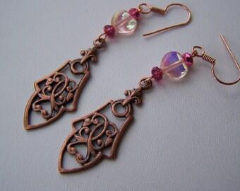 VICTORIAN ROMANCE-2 5/8  inch COPPER Dangle Earrings