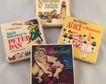 Vintage Disney Film Inspired Coaster Set of 4 or 8 Sleeping Beauty, Peter Pan, Snow White, Alice in Wonderland