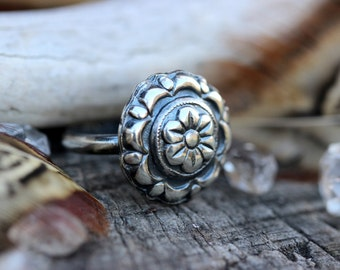 Sterling Silver Flower Ring Sterling Silver Ring Sterling Silver Stacking Ring Sterling Silver Stackable Ring Concho Ring Silver Ring