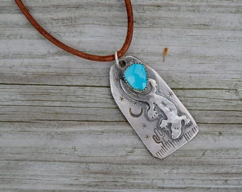 Kingman Turquoise Sterling Silver Necklace . Lizard . Reclaimed Silver  . Hand Forged . Sterling Necklace.Rustic. Necklace.