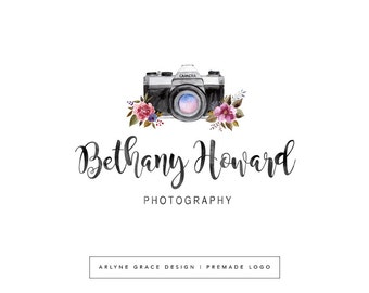 Premade Logo - Camera Logo - Logo Design - Floral Flower Logo - Photography Logo - Rustic Logo - Watercolor Logo - Branding Kit Package